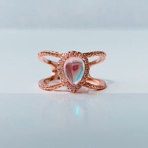 Jewelry - Moonstone Ring Rose Gold CZ sizes 6 7 8 9 & 10